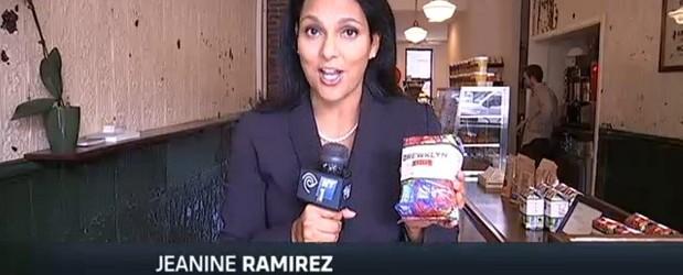 NY1 reporter Jeanine Ramirez at Brewklyn Grind on Myrtle Avenue.