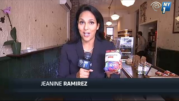 NY1 reporter Jeanine Ramirez at Brewklyn Grind on Myrtle Avenue.
