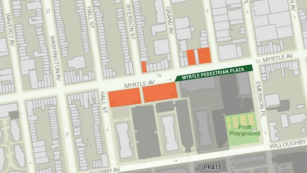 The lots shown in orange have new buildings either planned, with permits filed, or are currently under construction.