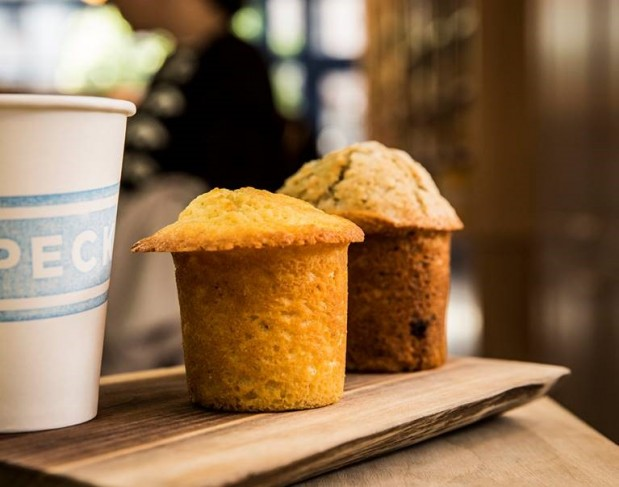 Peck's coffee and muffin