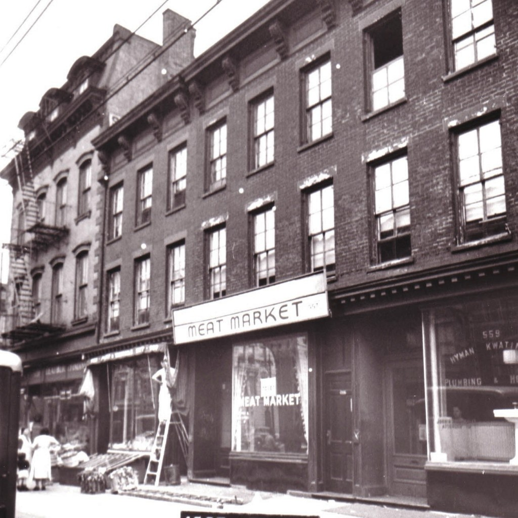 1940's photograph of 555-559 Myrtle Avenue, between Emerson and Classon.